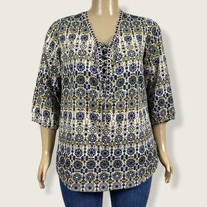 Intro Lace Up Peasant Shirt Top Boho Print 1X PLUS